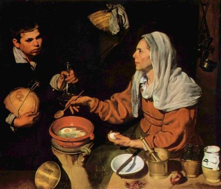 an old woman cooking eggs-Diego Velázquez