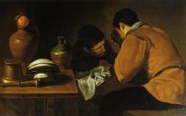 two-young-men-eating-at-a-humble-table.Diego Velázquez